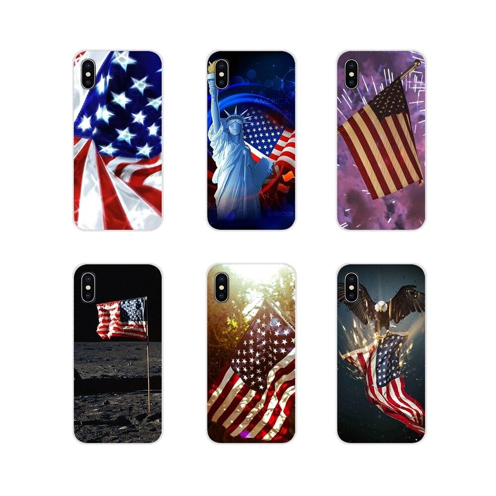 Para Xiaomi Redmi 4A S2 Note 3 3S 4 4X 5 Plus 6 7 6A Pro pocofone F1 Niña Americana delante de la bandera de Estados Unidos funda de silicona para teléfono