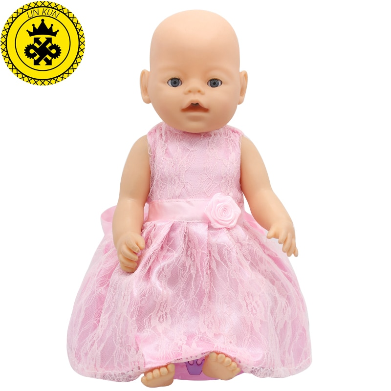 Ropa para vestir muñecas bebé fit 43cm vestido rosa bebé accesorios muñeca para 43cm esperanza amor niños Regalo de Cumpleaños 047