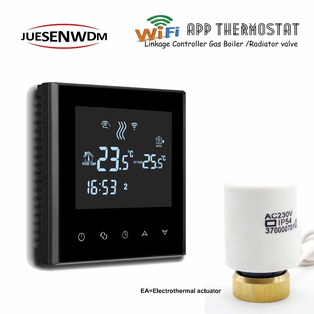 Controles de temperatura do termostato da caldeira do sistema da ue ios/android wifi para o controlador da caldeira de gás