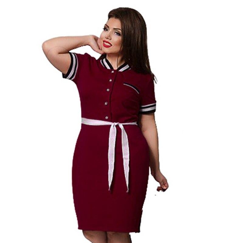 Платье-Поло женское, большого размера, до колена, большого размера, 6XL, с поясом, в стиле пэчворк, 2019