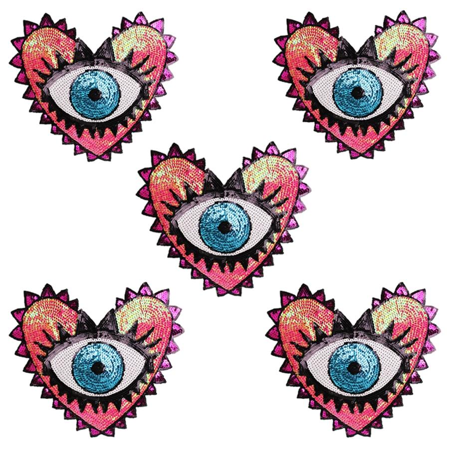 Parches grandes de ojo en forma de corazón de 33x31 cm, parches de lentejuelas para ropa, bolsas, accesorios de ropa DIY, parche apliqué de lentejuelas