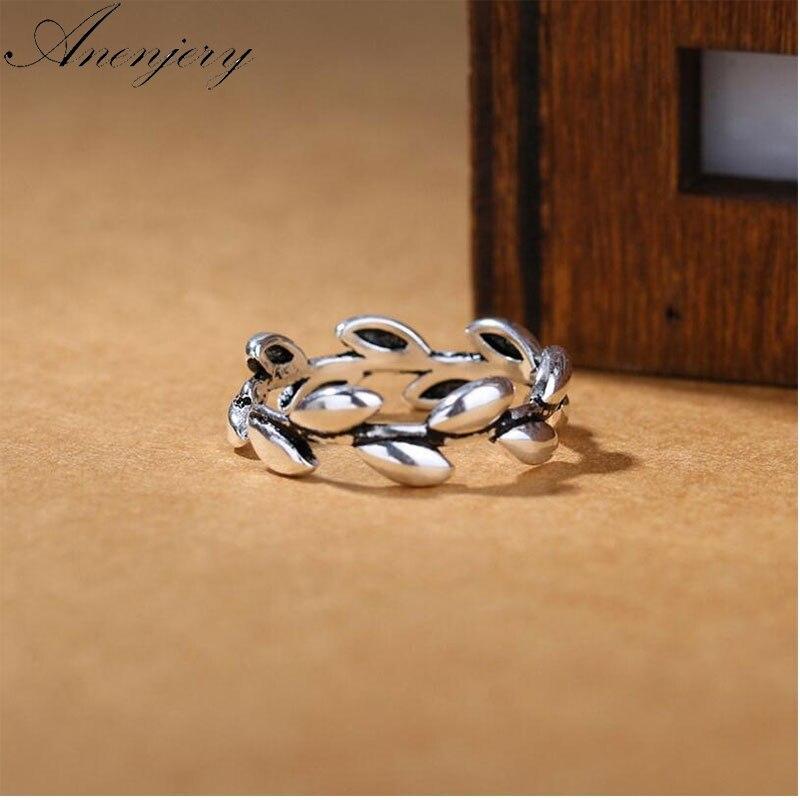Anenjery anillos para las mujeres tailandés Color plateado joyería de rama étnicos deja apertura anillo dedo índice S-R271