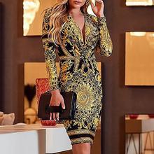 2018 Ethnic print plunge twist front long sleeve dress women Sexy v neck club party dress Autumn fashion bodycon vestidos mujer