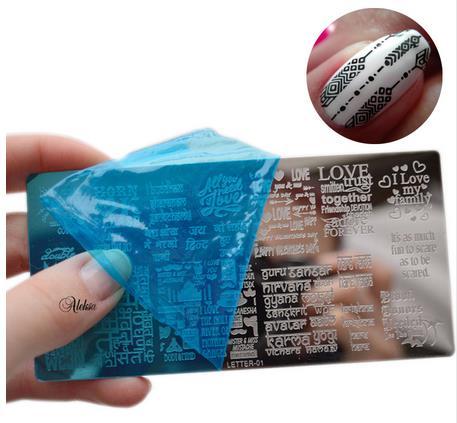 Nuevo diseño de placa de Arte de uñas sello letra para estampado rectángulo de acero inoxidable DIY uñas esmalte impresión manicura plantilla para uñas plantilla