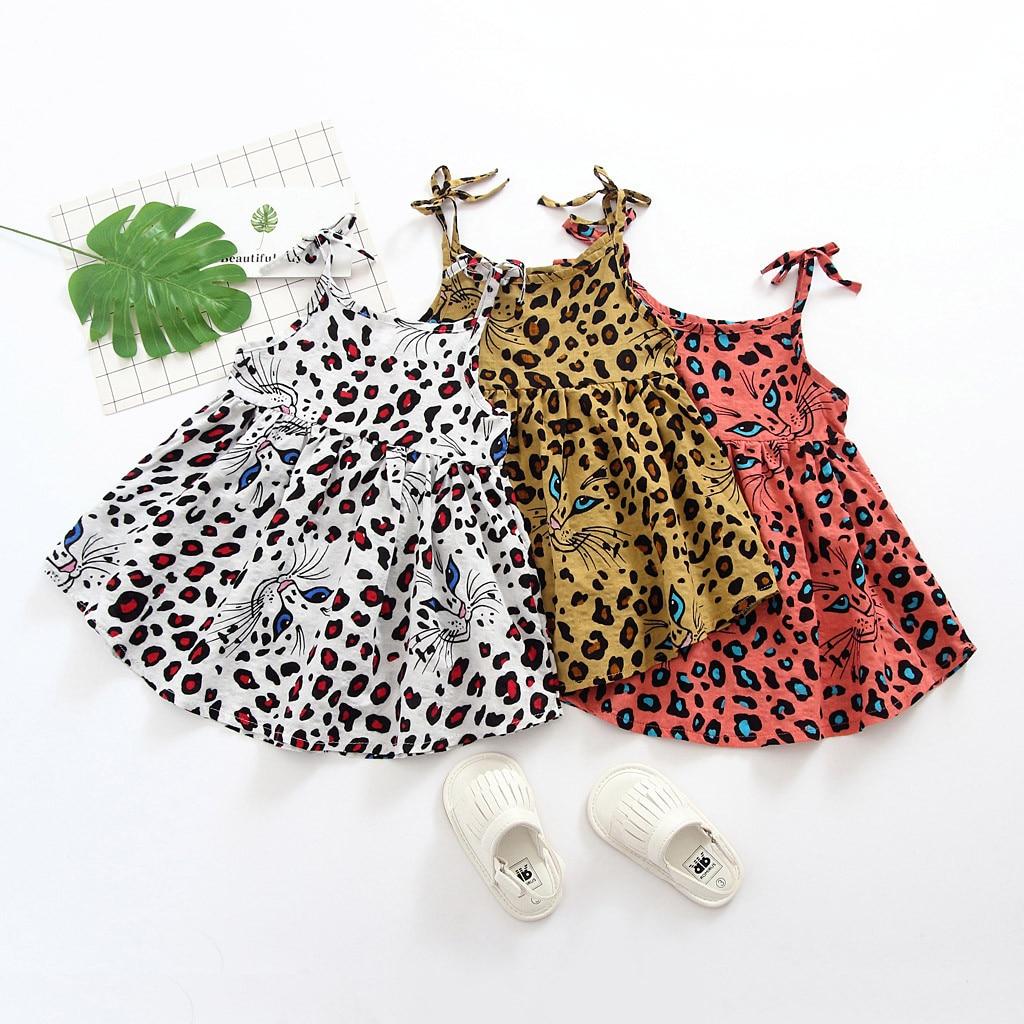 Criança criança criança bebê menina sem mangas leopardo impresso festa princesa vestido roupas venda dropshipping acessórios para casa desconto che