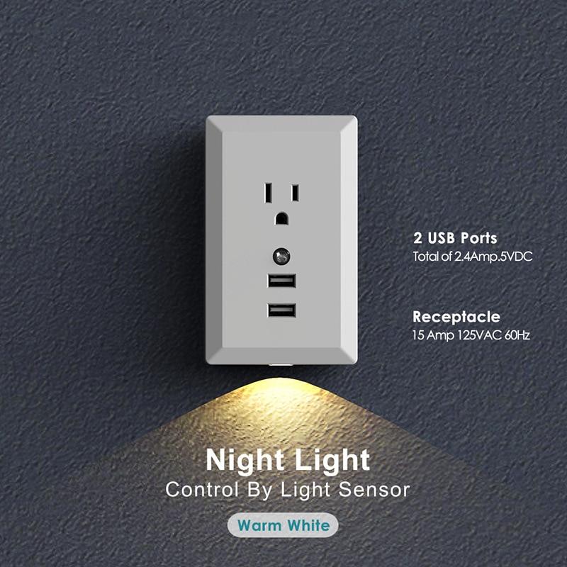 Enchufe de pared 2.4A Dual USB cargador de pared adaptador de fuente de alimentación US enchufe eléctrico estándar luz nocturna inteligente para dormitorio
