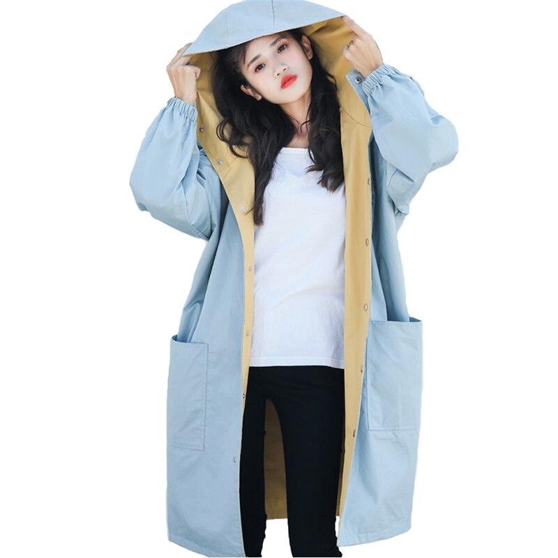 Desgaste en ambos lados abrigo de las mujeres impreso 2019 cazadora con capucha de mujer de talla grande suelto estudiantes largo abrigo Casual Tops H772