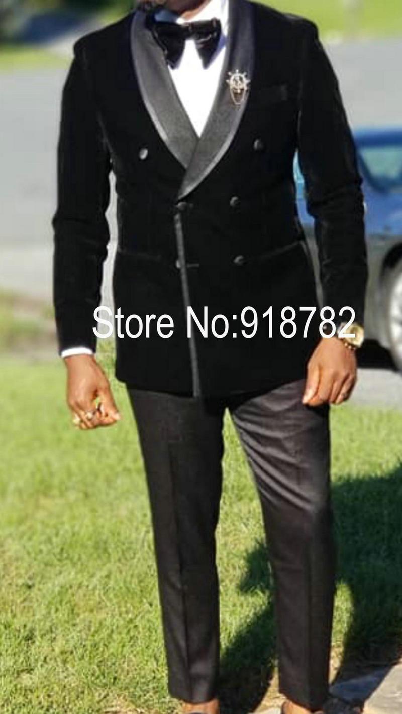 بدلة زفاف رجالية, بدلة زفاف للرجال 2018 من المخمل الأسود أحدث معطف مع سروال ضيق بدلة رجالية سهرة مزدوجة الصدر