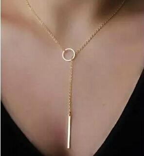 Joyería de estrella Simple de moda de alta calidad, collares únicos con forma de barra de tono dorado, collares con cadena para mujer, regalo de joyería