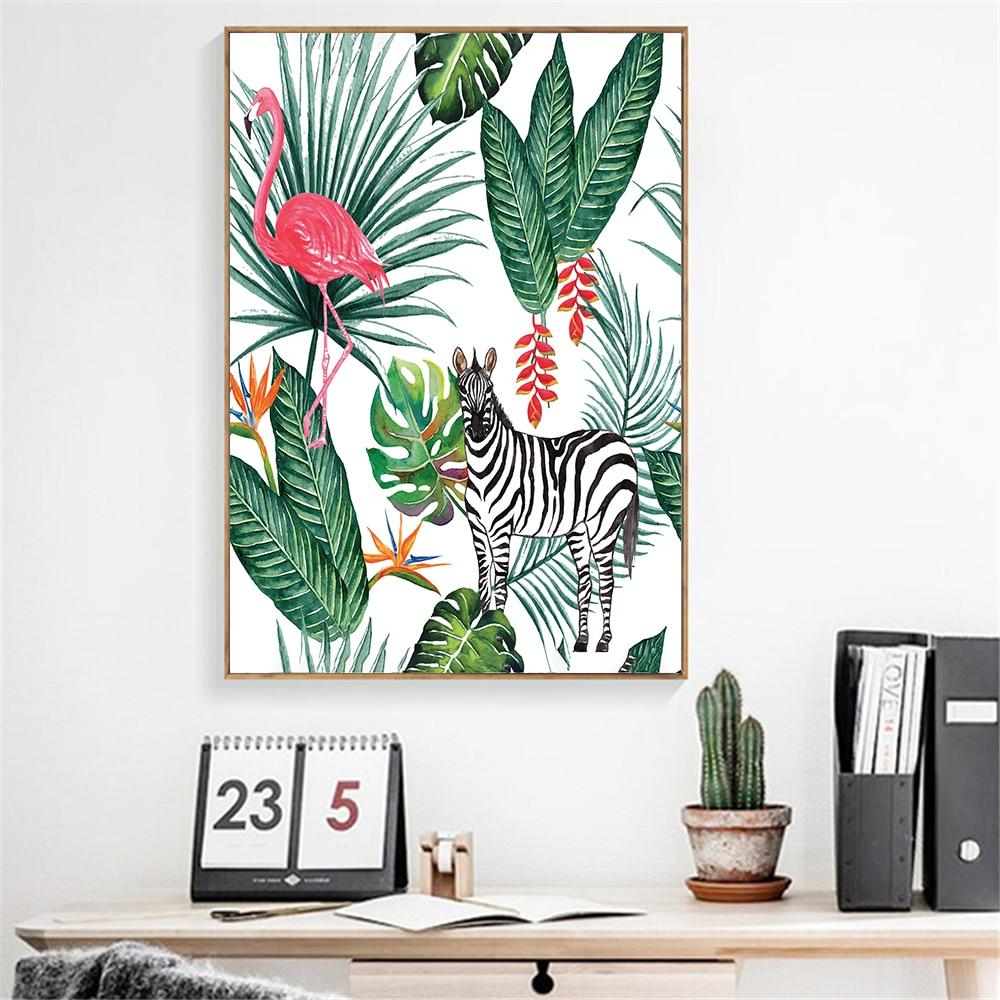 Impresión de pared Flamingo Rosa Abastract pintura lienzo Cuadros Abstractos Moderno imágenes...
