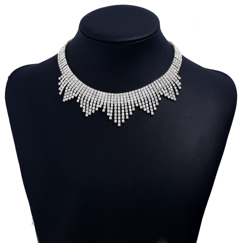 Yizli nueva moda fiesta Cristal Diamantes de imitación boda novia collar joyería accesorios de mujer joyería alta calidad caliente X006