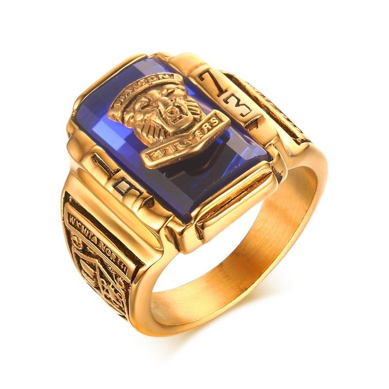 Anillos de dedo para hombres Acero inoxidable Diamante de imitación azul 1973 tigres Walton color oro clase escuela aniversario joyería Anel Ane