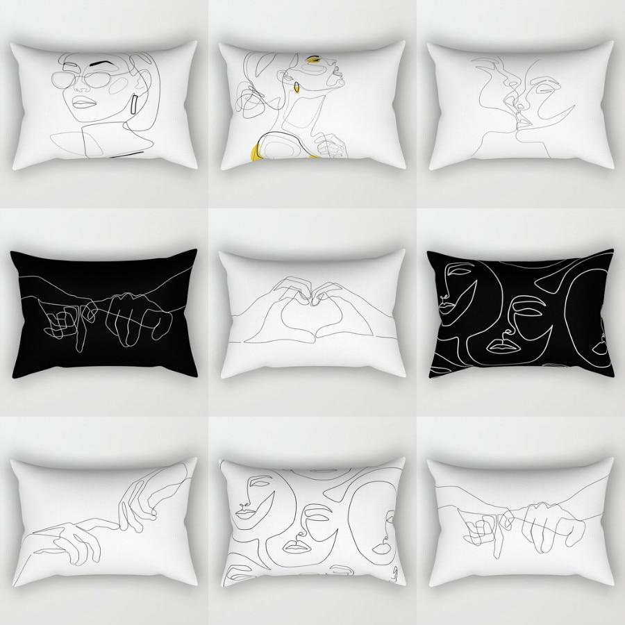 Elife Black White artificial Polyester Cotton Linen decorative pillow shams in pillow case throw Cushions For Sofa car 30x50cm