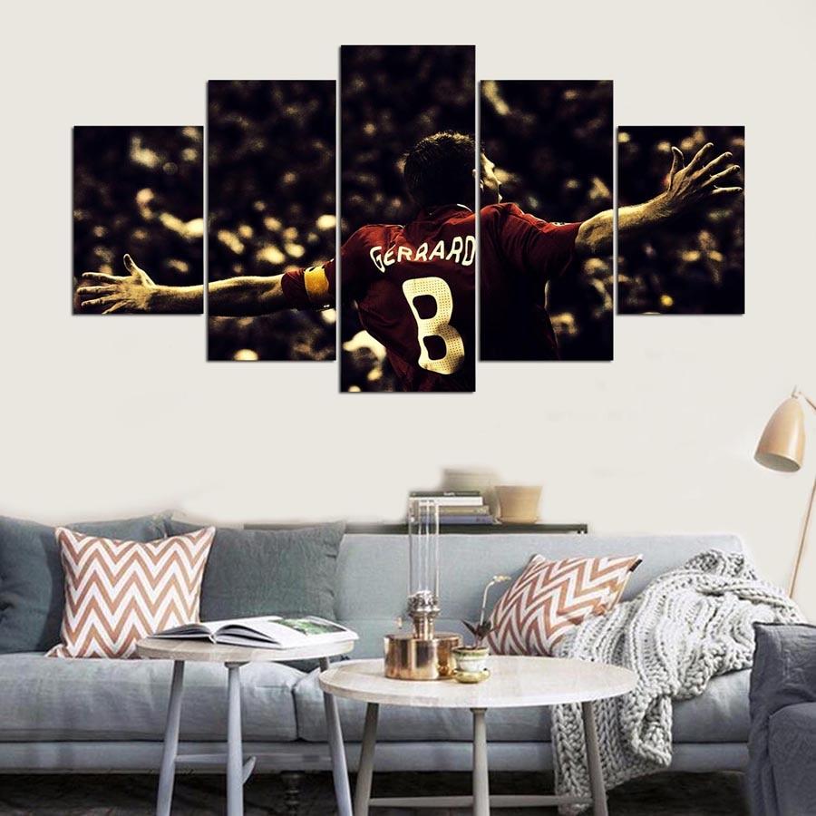 JIE hacer arte 5 panel hd liverpool lienzo impreso pared artística pintura con marco para pared de salón foto
