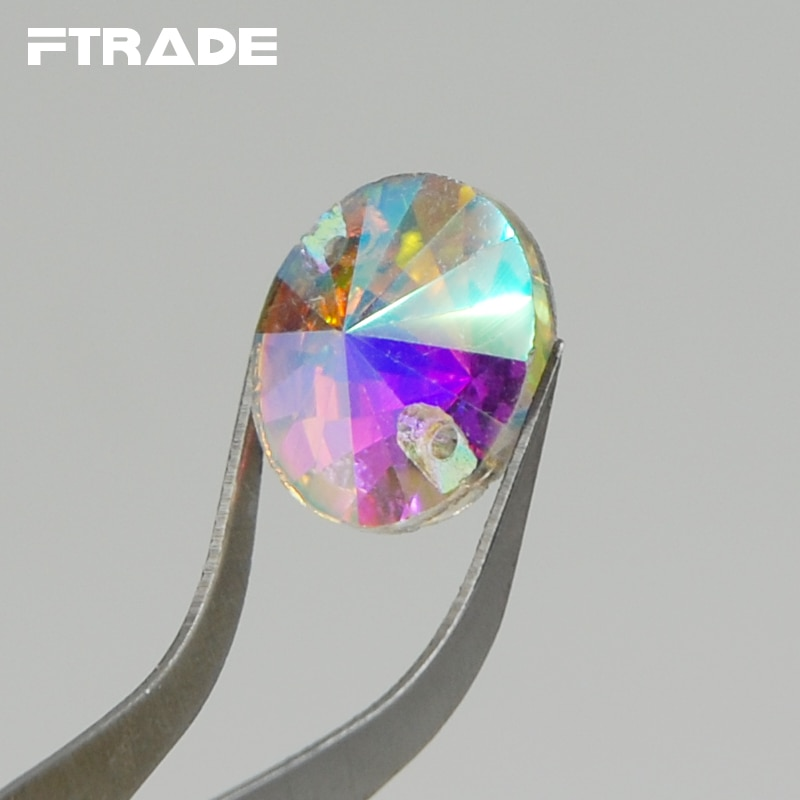 Caliente! 8mm 10mm 12mm 14mm 16mm 18mm claro Cristal AB de Rivoli Round coser en diamantes de imitación Flatback 2 agujeros de vidrio de coser piedras sueltas