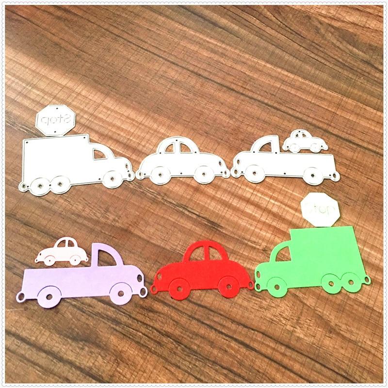 Troqueles de corte de Metal para la familia del coche para plantillas para libro de recortes tarjetas para decoración de álbum DIY carpeta en relieve Plantilla de corte