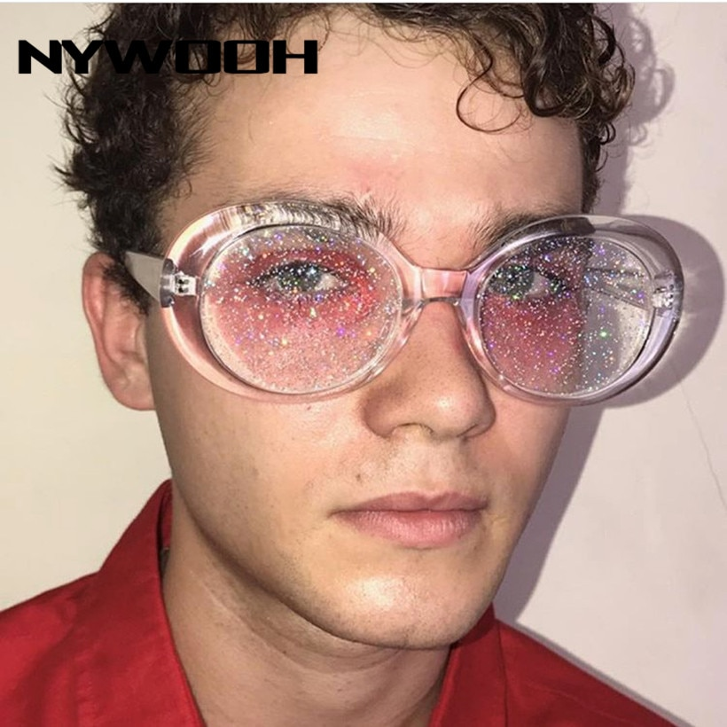 Nywooh oval óculos de sol feminino colorido doces claro óculos de sol homens lantejoulas vermelho rosa óculos kurt cobain óculos de influência