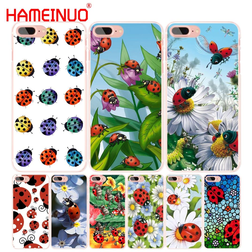 Hameinuo joaninha senhora bug telefone celular capa para iphone 6 4 4S 5 5S se 5c 6s 7 8 plus x