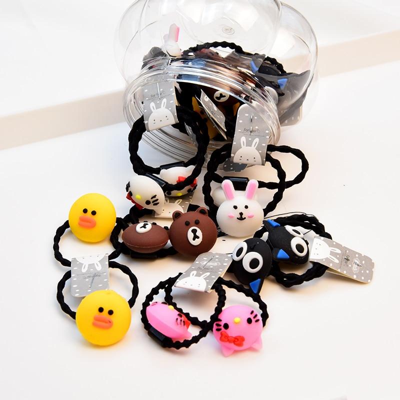 20/24pcs/Set Gift Box Packed Girls Children Cute Cartoon Elastic Hair Bands Headwear Scrunchies Rubber Bands Hair Accessories