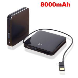 8000mAh Mirror Screen Mini Power Bank 2.1A Fast Charging Built-in Line Portable Dual USB Charger Powerbank External Battery Pack