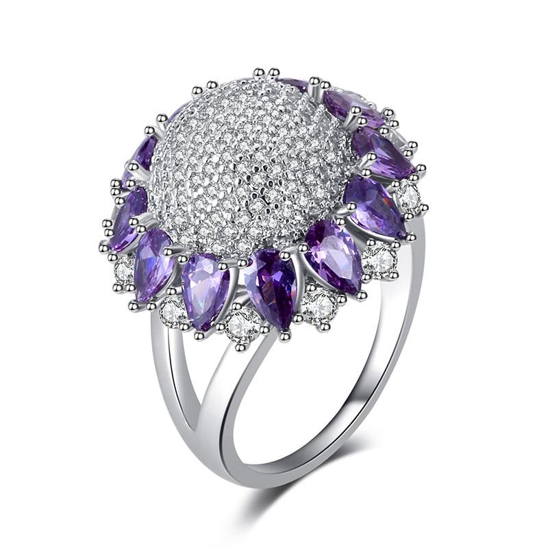 Anillos de cristal de Color plateado MOONROCY CZ, anillo de fiesta de girasol rojo azul púrpura para mujeres y niñas, venta al por mayor, Dropshipping