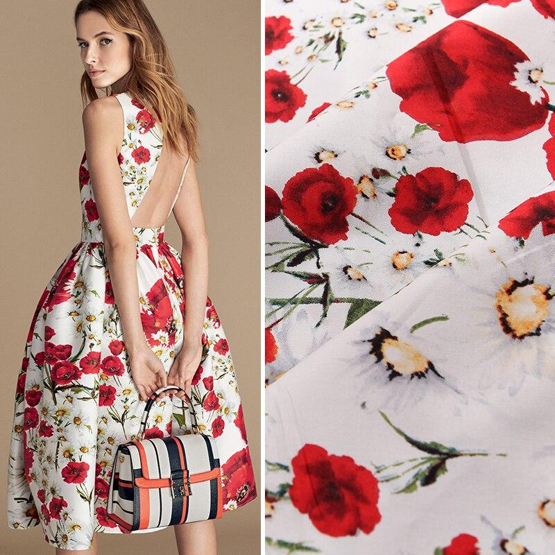 HLQON, 100%, satén de algodón, tela de fondo rosa blanca para coser ropa de mujer, tapicería de tejido, vestido de boda