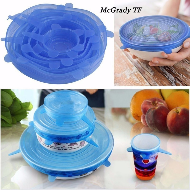Presente 6 pçs/set Trecho Silicone Sobre A Tampa De Vidro Copo de Frutas Frescas Fresco Copo De Cobre Luva de Silicone Pan Cozinha A Vácuo ferramentas