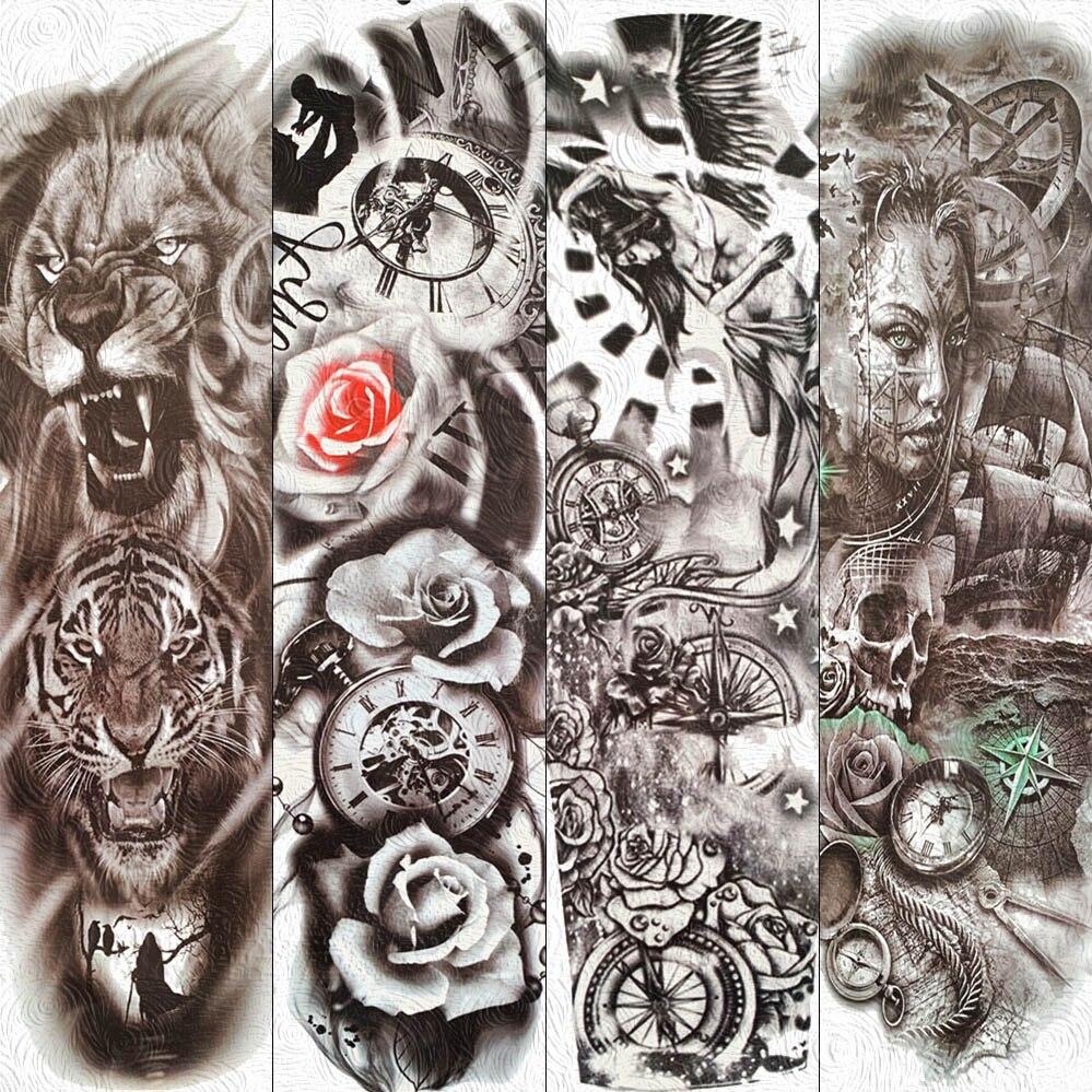 FANRUI, brazo de flores completo para hombres y mujeres, tatuaje temporal, Waterpoof pegatina, reloj rosa, ala de Ángel, tatuaje para arte corporal, papel de tatuaje falso negro