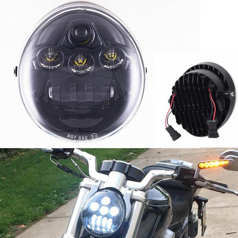2017 novo para harley v-haste acessórios da motocicleta led farol preto para harley vrsca v-haste vrod led farol