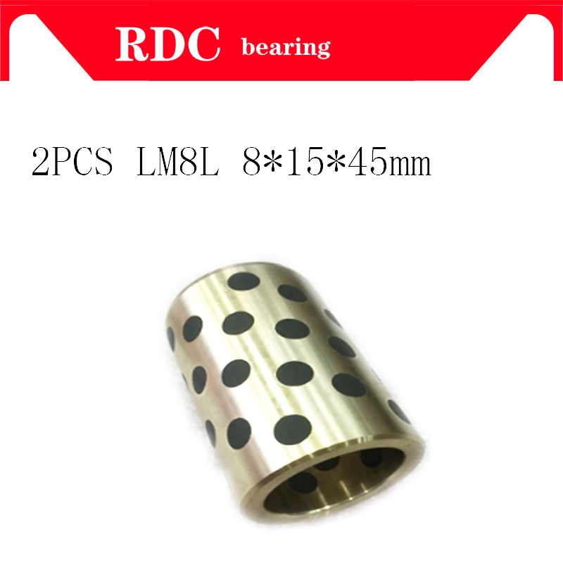 2PCS 8x15x45 mm linear graphite copper set bearing copper bushing oil self-lubricating bearing JDB for shaft 8mm LM8LUU LM8L