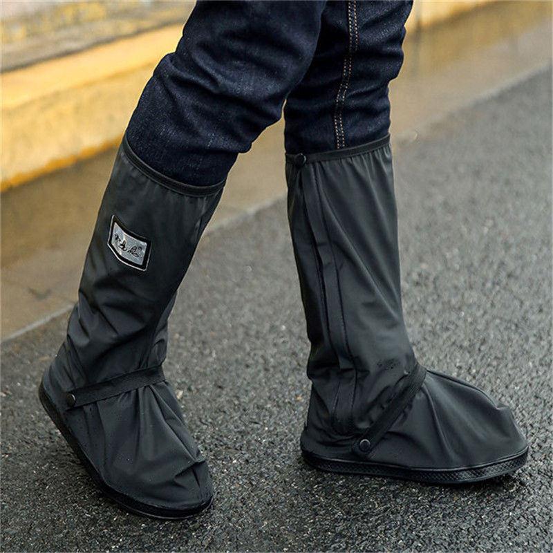 Creative Rainproof Shoes Cover Waterproof Reusable Motorcycle Cycling Bike Thick Rain Boot Shoes Covers Rainproof Black