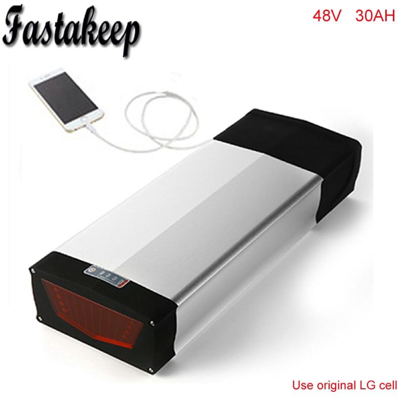 Batería trasera de iones de litio 48v 48v 30ah e batería de bicicleta para 1000w 48v batería de bicicleta eléctrica batería de bicicleta con puerto USB