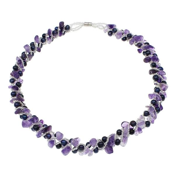 Natural de água doce pérola colar designer jóias contas de cristal contas de vidro fecho magnético birthstone roxo feminino casamento