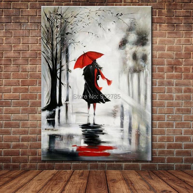 100% sin marco, cuadro pintado a mano al óleo, paraguas rojo, vestido negro, figura de chica Sexy, pintura moderna sobre lienzo, cuadro decorativo para el hogar