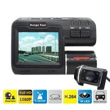 "Dual Lens Car DVR Camera I1000S Full HD 1080P 2.0""LCD Dash Cam+Rear View Camera+8 IR Led Light Night Vision H.264 Video Recorder"