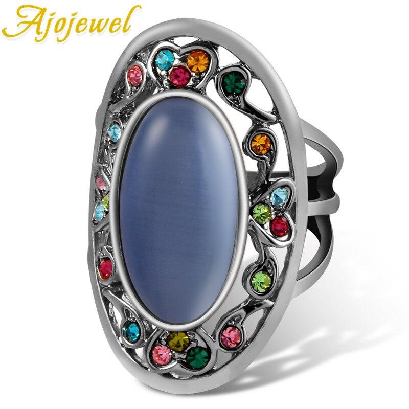 Ajojewel, anillo de ópalo, camafeo colorido, fabricación de alta calidad, buen regalo para mujeres, novia, protección de tres colores