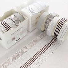 5 pièces/paquet point ligne Washi ruban ensemble décoration autocollant Scrapbooking journal adhésif ruban de masquage papeterie fournitures scolaires