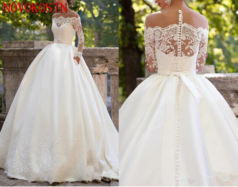 Long Sleeves Plus Size 2019 Wedding Dresses Sheer Neckline Appliques Sweep Train Chapel Country Bridal Gowns Vestido De Noiva недорого
