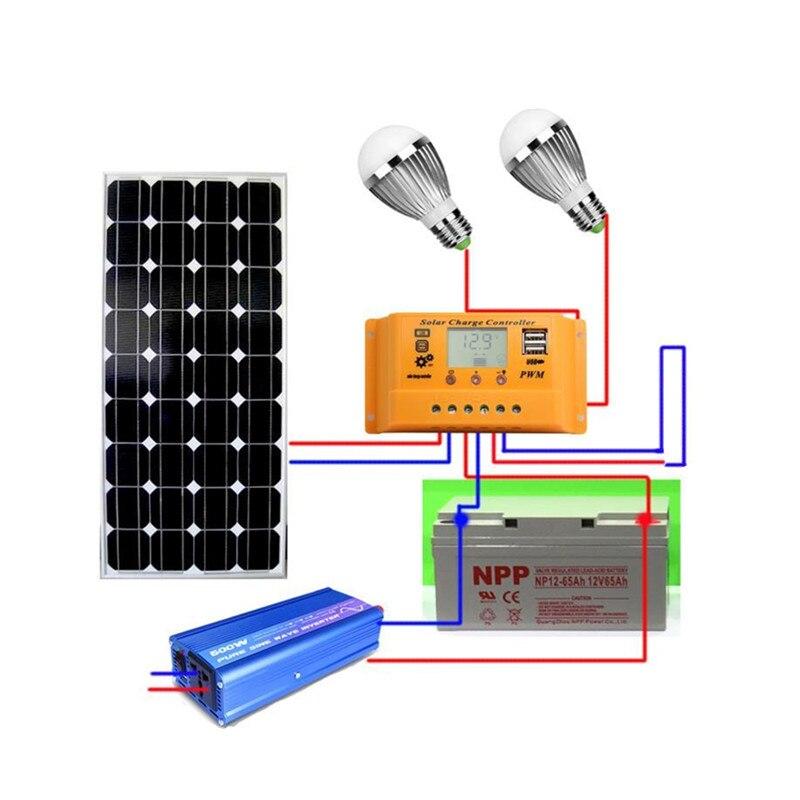 Sistema solar de 18V 100 w, sistema fotovoltaico, estación de energía para baterías de panel solar de 12 V, cargador solar completo juego con cable