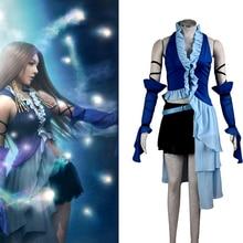 Anime Final Fantasy X Yuna Lenne chanson Cosplay vêtements Yuna Costume femmes Performance Costumes femmes robes bleues