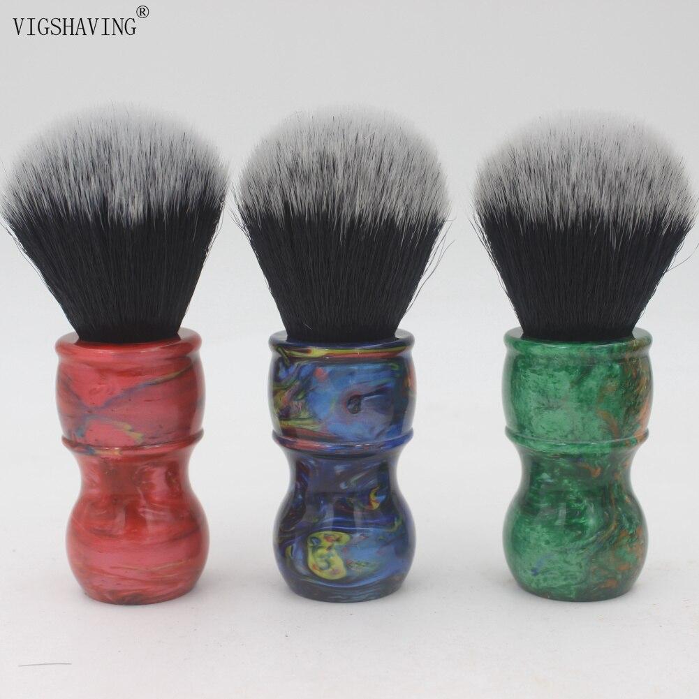 VIGSHAVING  Colorful Resin Handle Black/White Tips Synthetic Hair Men Shave Brush for Barber Tool
