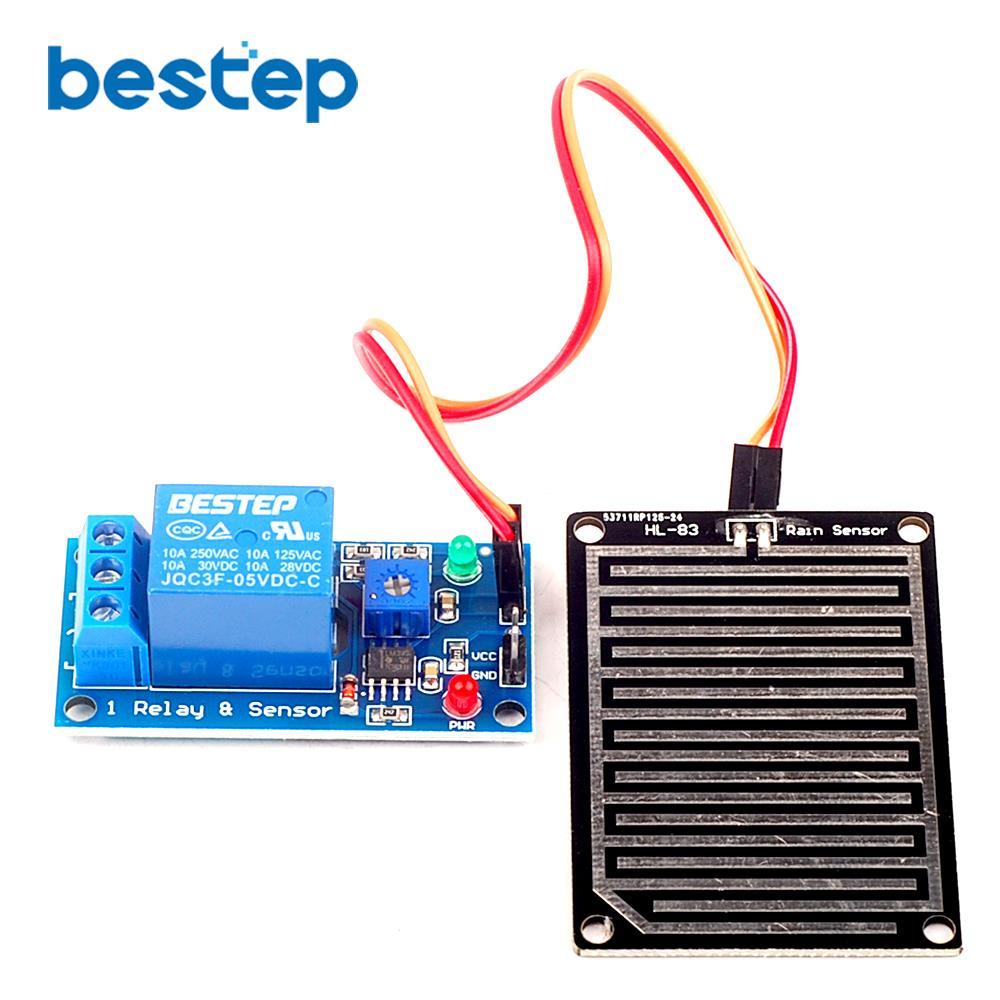 1pcs 5V Raindrops Controller Module With Relay Rain Sensor Module Foliar Moisture