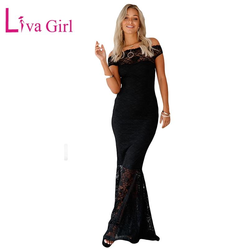 LIVA chica mujeres Formal Sexy fuera del hombro encaje sirena Maxi vestido elegante Bardot Fishtail Fiesta Vestidos largos Mujer Rode Vestidos