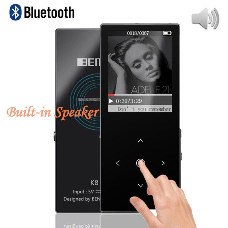 Nova alta fidelidade bluetooth mp3 player BENJIE-K8 8 gb built-in alto-falante leitor de música walkman leitor de áudio expansível cartão sd até 64 gb