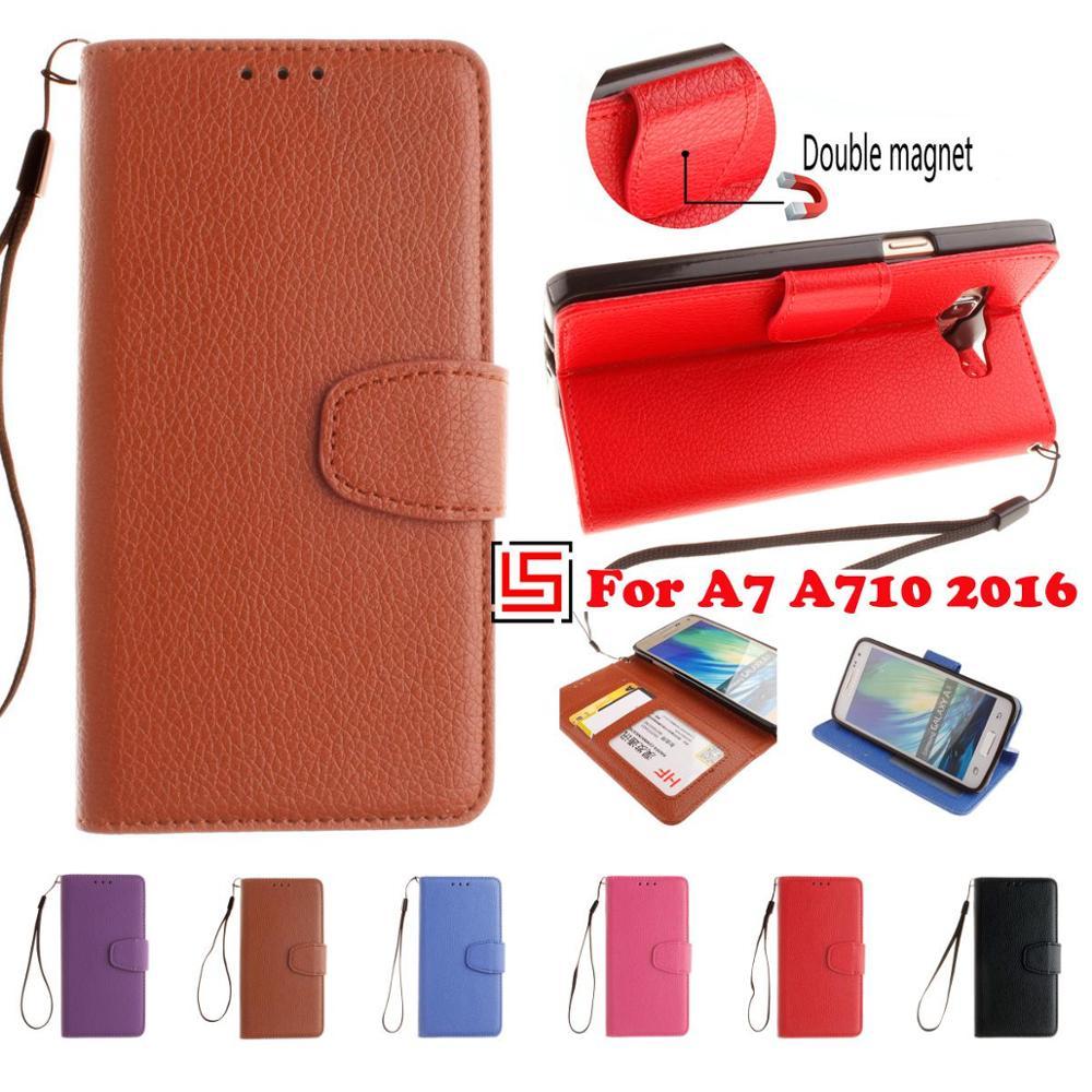 Pu cuero Flip filp clamshell cartera Walet teléfono celular móvil funda fundas funda bolsa para Samsung Samsun Galaxy A7 2016 un 7