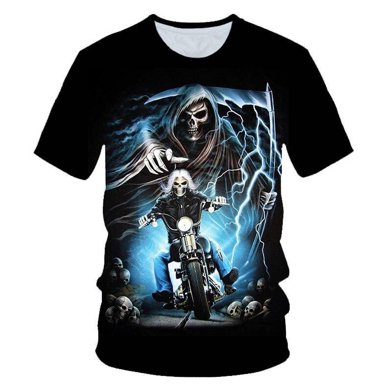 Popular equitação uma motocicleta crânio 3d impressão t camisa das mulheres dos homens verão casual manga curta o-pescoço streetwear topos & t S-6XL
