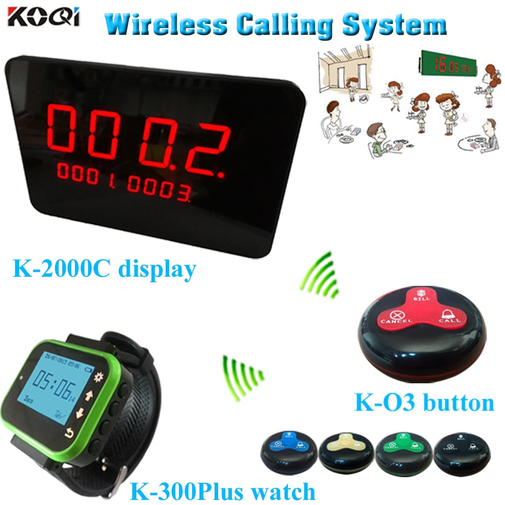 Restaurant pager 1 watch pager and One fixed host 20 multi key button for restaurant, hotel, cafe