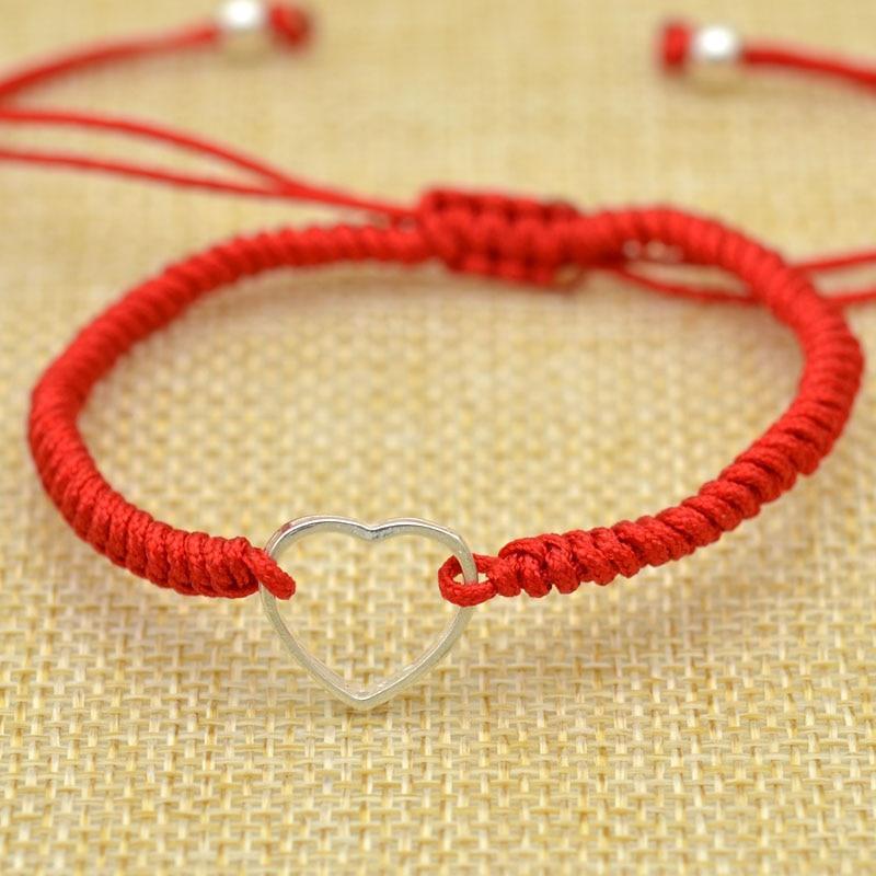 Bracelet Wholesale 2019 New Fashion Jewelry 925 Sterling Silver Heart Boyfriend Girlfriend Hand-made Red Rope