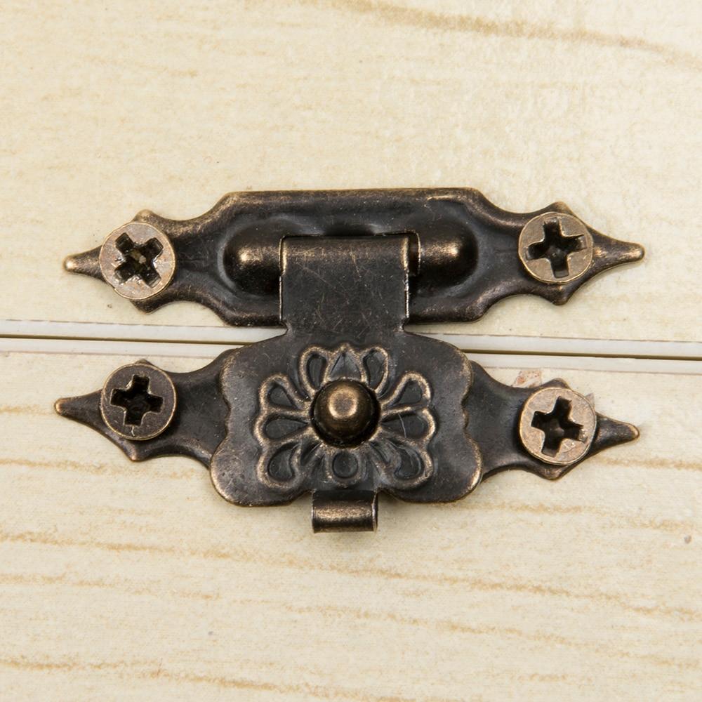 10 unids/set Vintage accesorios muebles joyería caja de madera armario y maleta bloqueo gancho tapa pestillo tono bronce