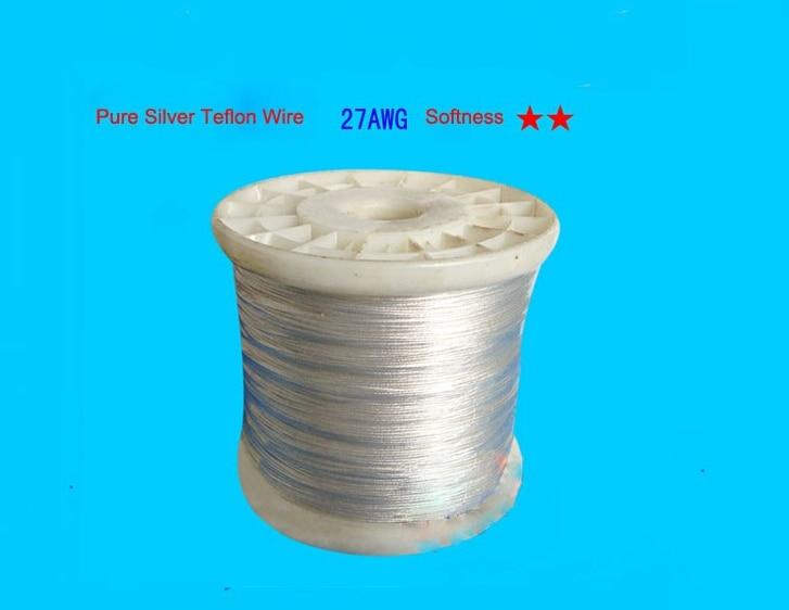 27AWG 100% الفضة النقية سلك كابل 14 النواة 14/0.10 مللي متر ، القطر 0.68 مللي متر ل DIY 30 متر